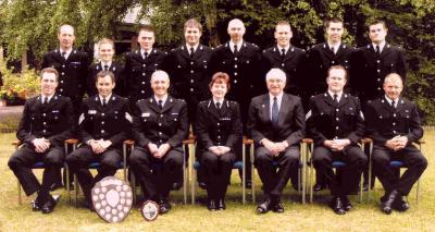 "North Devon District Police ""Three Peaks"" team receiving my Charity Shield in 2003 from the Chief Constable Maria Wallis, QPM"