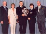 Police Constable John Fisher of Newton Abbot receiving my Charity Shield in 2004 for organising ongoing help and supplies for the children of the Chernobyl nuclear disaster of April 1986.